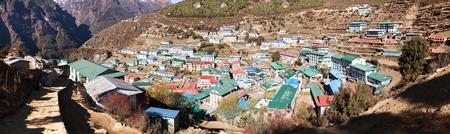 tibetan house: panoramatic view of Namche Bazar village - trek to Everest base camp - Nepal Stock Photo