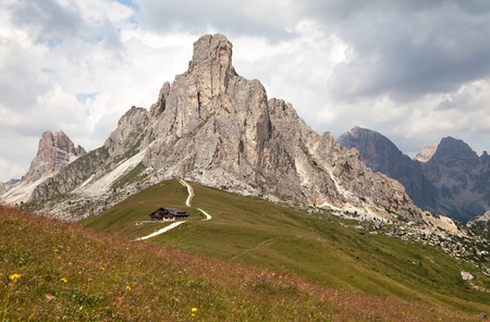 ra: Passo Giau and mount Ra Gusela, one of beautiful mountains in Italian Dolomites Stock Photo