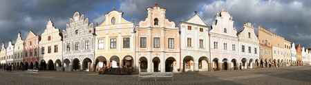 unesco in czech republic: TELC, CZECH REPUBLIC, 28TH AUGUST 2015 - Panoramic view of Telc or Teltsch town square with renaissance and baroque colorful houses, UNESCO town in Czech Republic Editorial