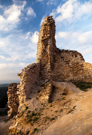 lithic: Evening view of ruins of Cachticky hrad - Slovakia
