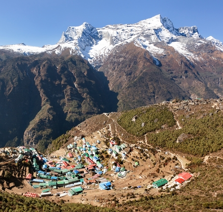 bazar: Namche Bazar and mount Kongde, Sagarmatha national park, Khumbu valley, way to Everest base camp, Nepal
