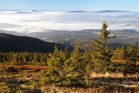 gora: View from Babia gora or Babi Hora to Slovakia - Poland and Slovakia border Stock Photo
