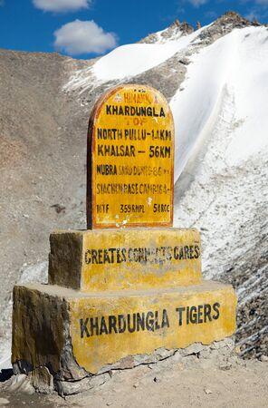 highroad: Khardung la - the highest road automobile asphalt pass on the world - Ladakh - Jammu and Kashmir - India Stock Photo