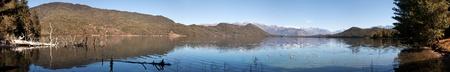tal: panoramic view of Rara Daha or Mahendra Tal Lake - Rara trek - West Nepal