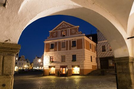 unesco in czech republic: TELC, CZECH REPUBLIC, 28TH AUGUST 2015 - night view of Telc or Teltsch town square, Czech republic. world heritage site by unesco