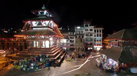 iluminated: KATHMANDU, NEPAL, 23RD OCTOBER 2014 - Night view of Kathmandu Durbar square during festival