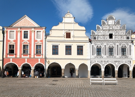 unesco in czech republic: TELC, CZECH REPUBLIC, 28TH AUGUST 2015 - View from Telc or Teltsch town square with renaissance and baroque colorful houses, Czech republic. World heritage site by unesco