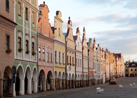 unesco in czech republic: TELC, CZECH REPUBLIC, 28TH AUGUST 2015 - Evening red colored view of Telc or Teltsch town square, Czech republic. world heritage site by unesco