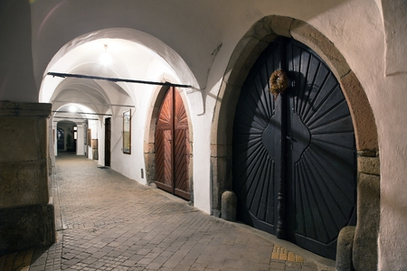 unesco in czech republic: TELC, CZECH REPUBLIC, 28TH AUGUST 2015 - Archway around town square of Telc or Teltsch town, World heritage site by unesco in Czech Republic
