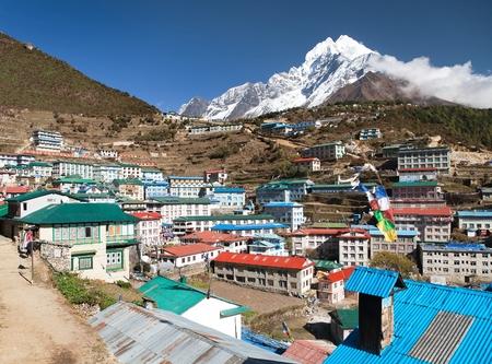 sherpa: View of Namche bazar and mount thamserku - way to everest base camp, Khumbu valley, Sagarmatha national park, Solukhumbu, Nepal Stock Photo