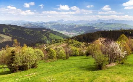 mala fatra: Springtime view from Javorniky to Mala Fatra mountains, Carpathian Mountains, Slovakia Stock Photo