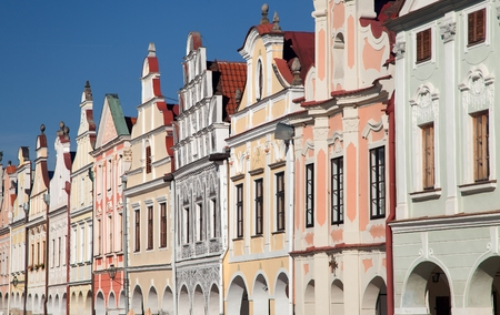 unesco in czech republic: View from Telc town square with renaissance and baroque colorful houses, UNESCO town in Czech Republic Stock Photo