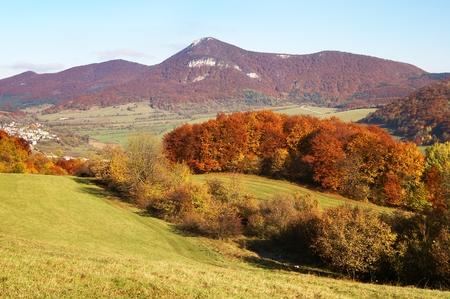 broad leaved tree: autumnal view of strazov mount in strazovske vrchy
