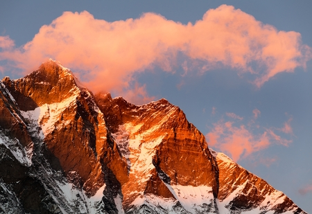 high sierra: evening view of clouds on the top of mount Everest