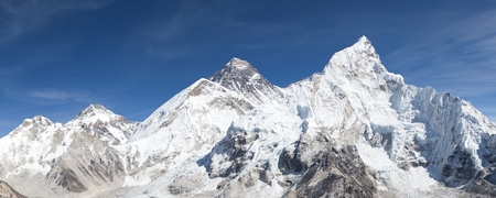 mount everest: panoramic view of Mount Everest with beautiful sky and Khumbu Glacier