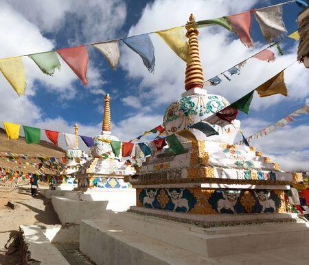 himachal pradesh: Prayer flags with stupas, Himachal Pradesh - India