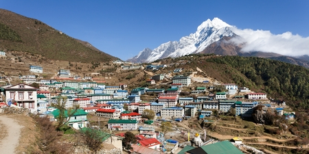 View of Namche bazar and mount thamserku - way to everest base camp.