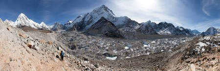 icefall: Panoramic view of khumbu glacier