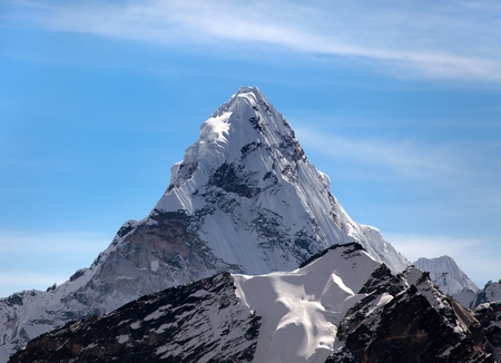 Evening view of Ama Dablam on the way to Everest Base Camp, Sagarmatha national park, Khumbu valley, Nepal Stock Photo