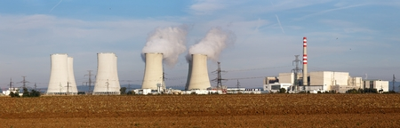 atomic energy: Evening panoramic view of Nuclear power plant Jaslovske Bohunice - Slovakia