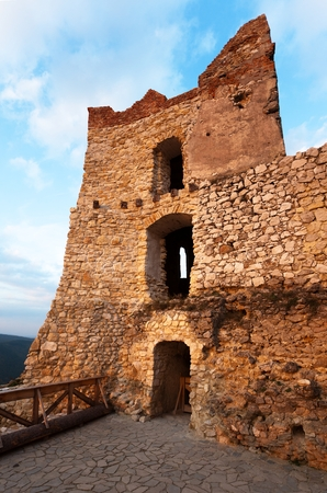 lapidary: Evening view of ruins of Cachticky hrad - Slovakia