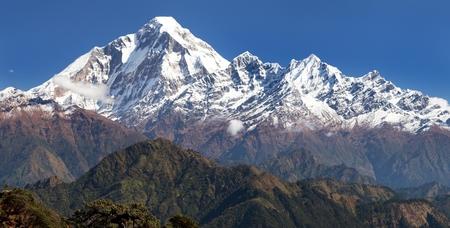 panoramatic: panoramatic view from Jaljala pass to Dhaulagiri Himal - Guerrilla trek in Western Nepal Stock Photo