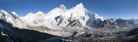 panoramic: panoramic view of Mount Everest with beautiful sky and Khumbu Glacier - way to Everest base camp, Khumbu valley, Sagarmatha national park, Nepal