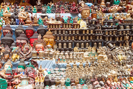 hinduist: KATHMANDU, NEPAL, 16th APRIL 2016 - Typical bronze nepalese souvenirs which are selling in kathmandu city, capital of Nepal Editorial