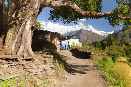 TAKAM VILLAGE, NEPAL, 5TH of OCTOBER 2013 - Life under himalayas - Dhaulagiri himal - Guerrilla trek in Western Nepal