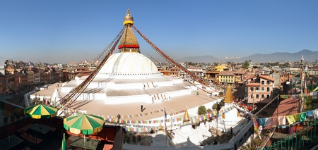 monastic: NEPAL, KATHMANDU - 10TH OF DECEMBER 2014 - View of Bodhnath stupa Editorial