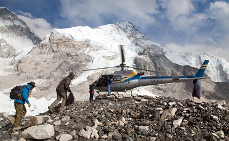 EVEREST BASE CAMP, NEPAL, 27th APRIL 2016 - helicopter in Mount Everest base camp and mount Nuptse, Nepal