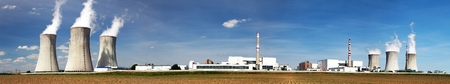 dukovany: Panoramic view of Nuclear power plant Dukovany - Czech Republic Stock Photo