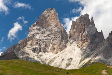fassa: Plattkofel (Sasso Piatto) and Grohmannspitze (Sasso Levante) beautiful mounts in Val di Fassa Near Sellagrupe, South Tirol, Dolomiten mountains, Italien European Alps