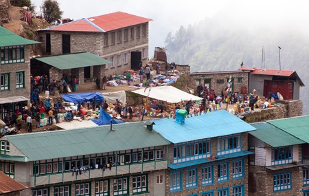 bazar: NEPAL, NAMCHE BAZAR, 13th MAY 2016 - bazaar in Namche Bazar village, there is center of Khumbu Valley, Sagarmatha national park, Nepal