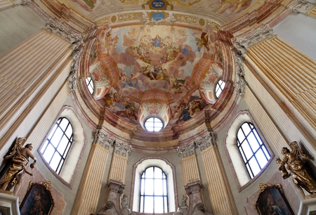 architector: KRTINY, CZECH REPUBLIC, 26TH APRIL 2014 - interiors of Pilgrimage Church in Krtiny village of the Name of Virgin Mary from famous baroque architect Jan Blazej Santini Aichel - cince 1750 year Editorial
