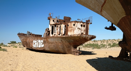 MUYNAK, UZBEKISTAN, 13th JUNE 2013 - Boats in desert around Moynaq, Muynak or Moynoq - Aral sea or Aral lake - Uzbekistan - asia Editorial