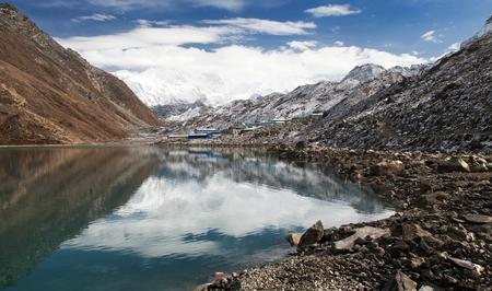 tarn: View of mount Cho Oyu mirroring in Gokyo lake or Dudh Pokhari, three passes trek and Cho Oyu base camp trek, Sagarmatha national park, Khumbu valley, Nepal Stock Photo