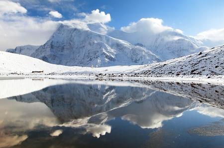 mirroring: Panoramic view of Annapurna 3 III and Ganggapurna mirroring in Ice Lake or Kicho Tal, Annapurna range, way to Thorung La pass, Annapurna circuit trek, Nepal Stock Photo