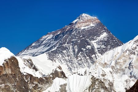 mount everest: Top of Mount Everest from Gokyo valley - way to Everest base camp - Nepal