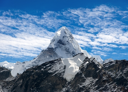 View of mount Ama Dablam on the way to Everest Base Camp with beautiful cloudy sky, Sagarmatha national park, Khumbu valley, Nepal