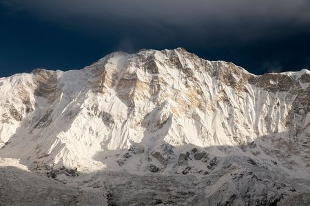 Morning view of Mount Annapurna from Annapurna base camp, round Annapurna circuit trekking trail, Nepal