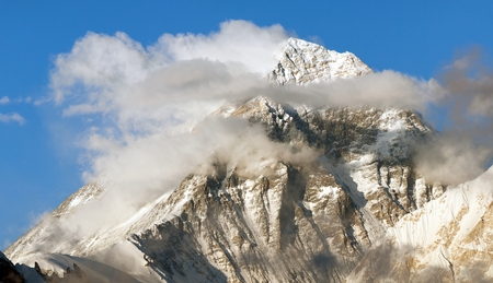 Evening panoramic view of mount Everest with beautiful clouds on the top from Gokyo Ri - Everest area, Sagarmatha national park, Khumbu valley, Nepal