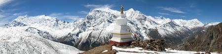 2 way: Panoramic view of Annapurna 2 II, Annapurna 3 III, Ganggapurna, Khangsar Kang, and Tilicho peak, Annapurna range from Ice Lake, way to Thorung La pass, Annapurna circuit trek, Nepal