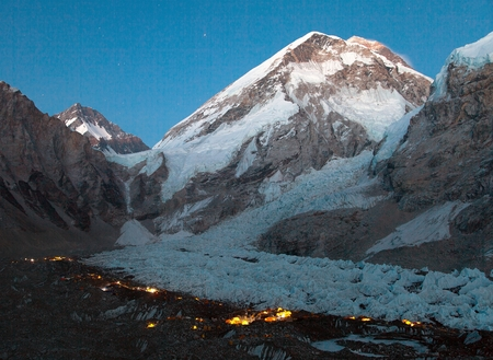 nightly: Nightly panoramic view of Mount Everest base camp, Everest, Khumbu glacier, Sagarmatha national park, Nepal Stock Photo