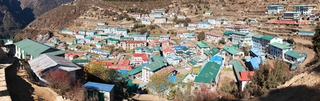panoramatic: panoramatic view of Namche Bazar village - trek to Everest base camp - Nepal Stock Photo