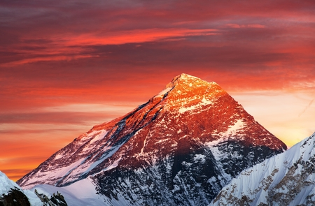 eventide: Evening colored view of Mount Everest from Gokyo Ri, Khumbu valley, Solukhumbu, Sagarmatha national park, Nepal