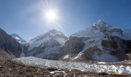 icefall: Morning sun above Mount Everest, lhotse and Nuptse from Pumo Ri base camp - Way to Everest base camp - Nepal
