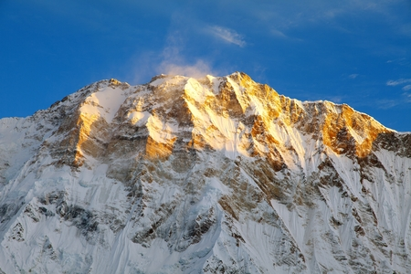 Morning view of Mount Annapurna from Annapurna base camp, round Annapurna circuit trekking trail, Nepal