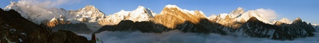 Evening panoramic view of Mount Everest, Lhotse, Makalu and Cho Oyu from Gokyo Ri - Khumbu valley, sagarmatha national park - Nepal Stock Photo