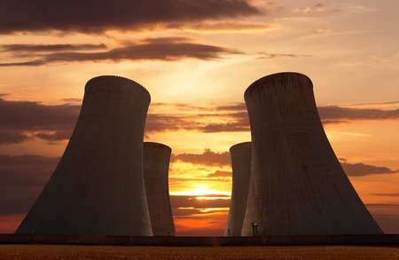 dukovany: Evening colored sunset view of cooling tower - Nuclear power plant Dukovany - Czech Republic